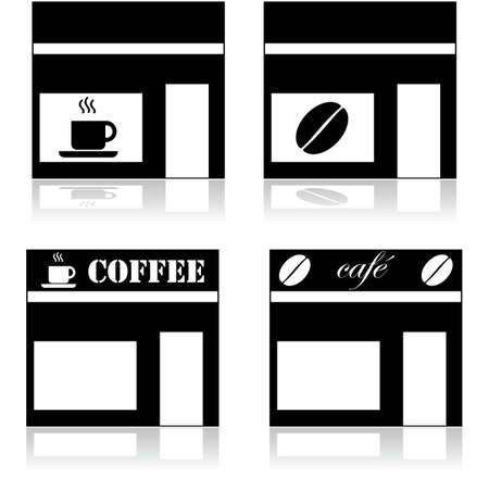 Icon set showing a coffee shop represented in four different ways