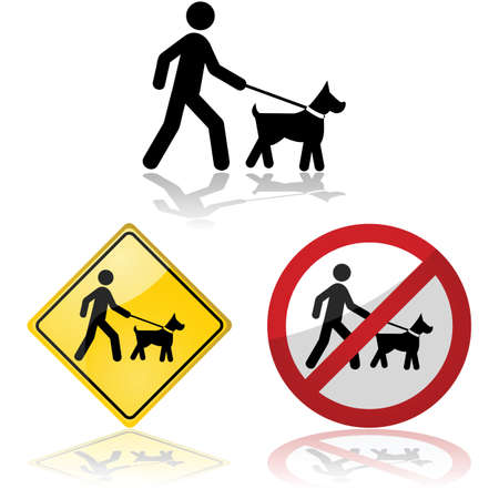 dog bite: Icon set showing a person walking a dog on a leash Illustration