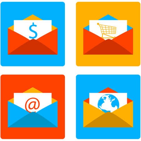 Icon set showing an envelope with different content using a flat design