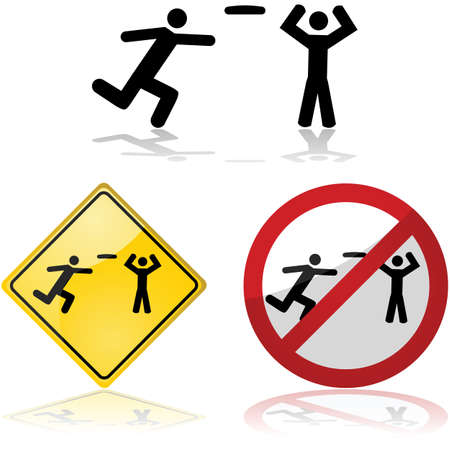 Icon set showing signs with people playing frisbee