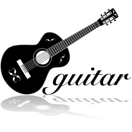 白い表面に反映される古典的なギターを示すアイコンの図