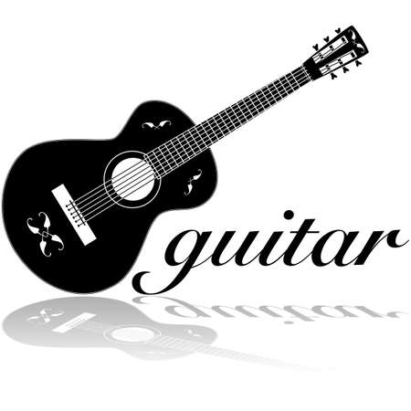 Icon illustration showing a classic guitar reflected on a white surface Ilustração