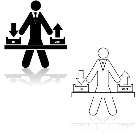 outbox: Icon illustration showing a businessman standing in the middle of an inbox and an outbox