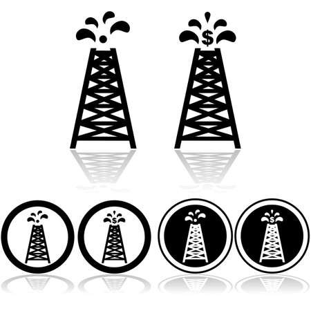 combustion: Icon set showing an oil tower with oil drops and a dollar sign