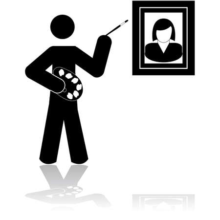 Icon showing a painter holding a brush and a palette while painting a picture