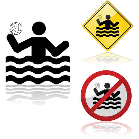 ball on water: Icon set showing signs allowing or forbidding water polo practice