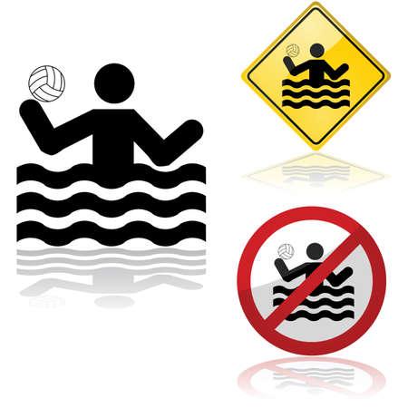 waterpolo: Icono de conjunto que muestra signos permitiendo o prohibiendo la pr�ctica de waterpolo Vectores