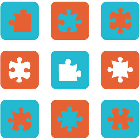 Icon set showing flat design buttons with puzzle pieces Иллюстрация