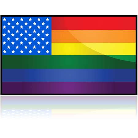 bandera gay: Ilustraci�n del concepto que muestra la bandera de los Estados Unidos mezcla con la bandera del arco iris LGBTQ