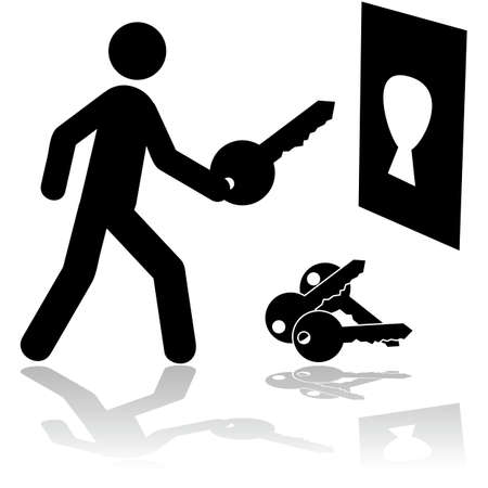 right ideas: Concept illustration showing a person holding the right key to open a lock