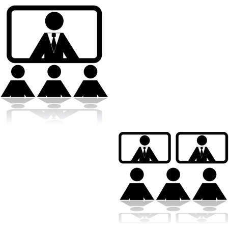 teleconference: Icon set showing two different teleconference settings