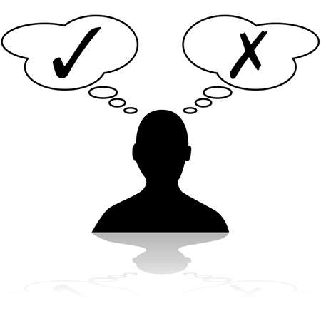 decision: Concept illustration showing a person thinking about different options before making a decision