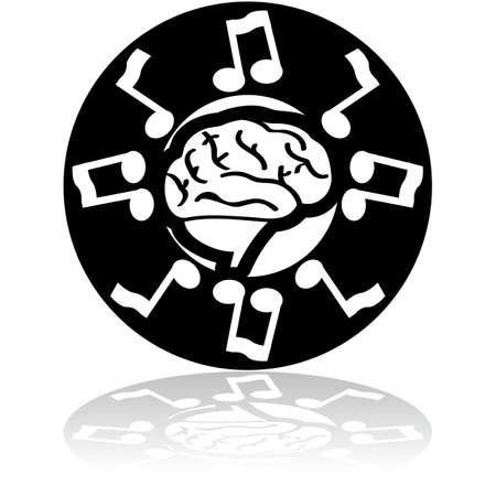 exact science: Concept illustration showing a brain surrounded by musical notes