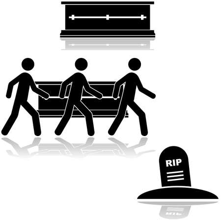 casket: Icon set showing a casket and people carrying it to a burial site Illustration
