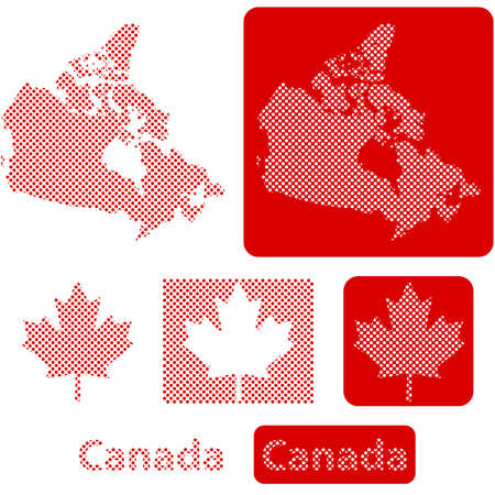 Concept illustration showing the map of Canada and the Canadian maple leaf made up of little circles Иллюстрация
