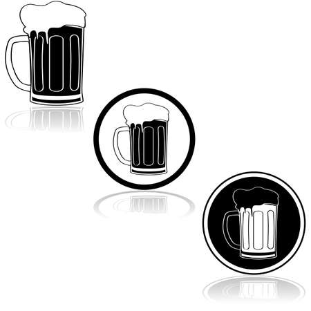 Icon set showing a black and white beer mug