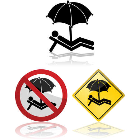 parasol: Icon set showing signs portraying a person relaxing under a parasol