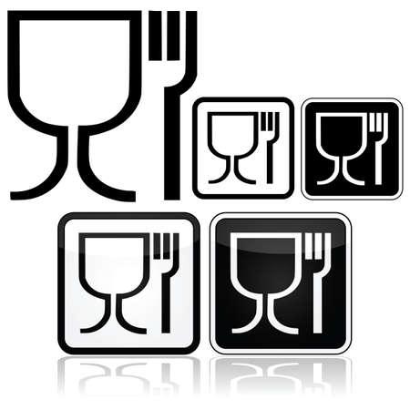 食品安全記号の異なるデザインのスタイルを示すアイコンを設定  イラスト・ベクター素材