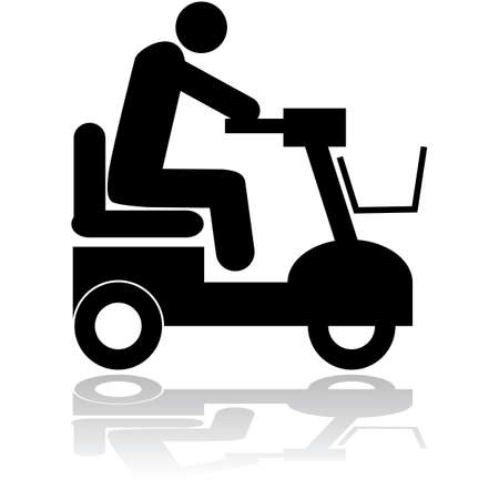 Icon illustration showing a person riding a motorized chair