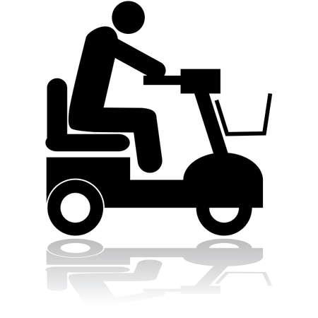 MOTORIZADO: Ilustración Icono de una persona que monta una silla motorizada Vectores