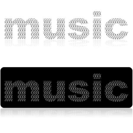Concept illustration showing the word music made up of different musical notes and notations