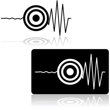 sismogr�fo: Icono de conjunto que muestra una l�nea mide por un sism�grafo con un objetivo que marca el inicio de un terremoto