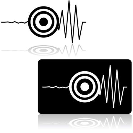 Icon set showing a line measured by a seismograph with a target signaling the start of an earthquake