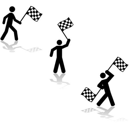 conclusion: Icon set showing a person waving race flags at the conclusion of a competition