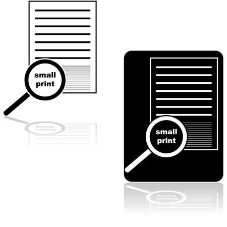 Icon set showing a magnifying glass over the small print of a document or contract Иллюстрация