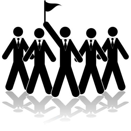 one team: Icon illustration showing a team of businessmen with one of them raising a flag Illustration