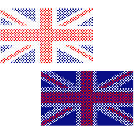 Concept illustration showing the United Kingdom flag made up of small circles