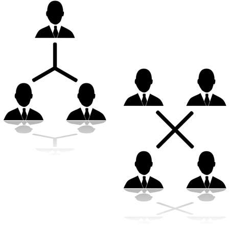 Icon set showing different connections between businessmen Иллюстрация