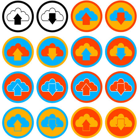 Flat icon set showing a cloud with an arrow up and another down and different color combinations
