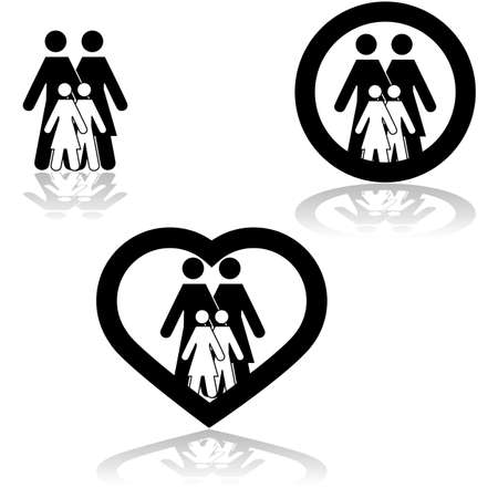Icon set showing a family together combined with different elements like a circle or a heart