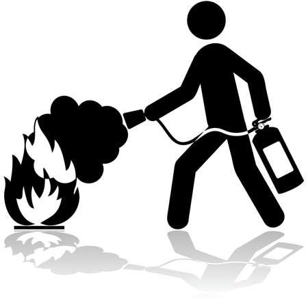 brandweer cartoon: Pictogram illustratie toont een man met behulp van een brandblusser een brand te blussen