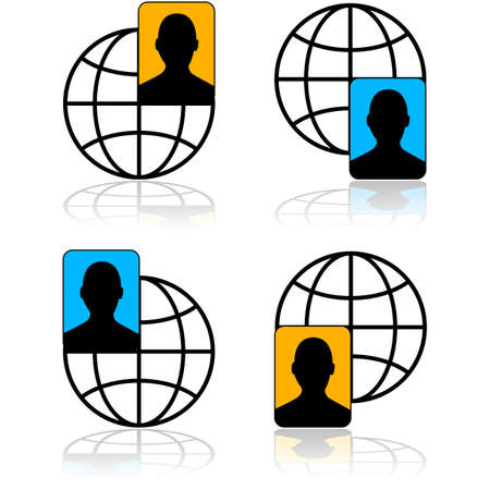 translating: Icon set showing a person and a globe representing international connections