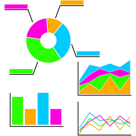 Icon set showing different types of colorful graphs