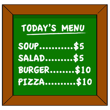 Cartoon illustration showing a small restaurant board displaying the menu of the day Çizim