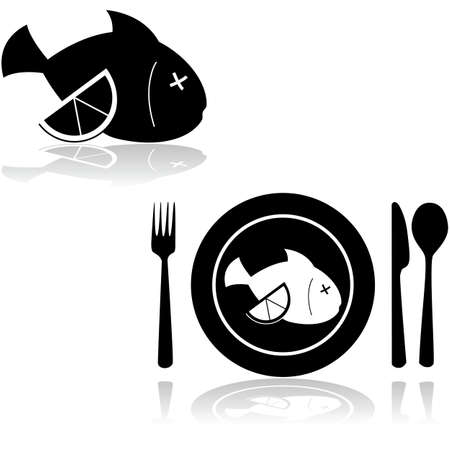 dead fish: Icon illustration showing a dead fish with a slice of lemon