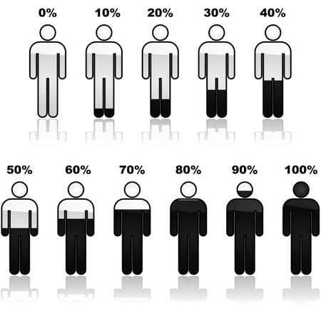 Icon set showing parts of a person shaded black and the percentage it represents. Great for infographic use. Çizim