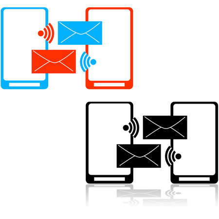 Icon set showing a couple of mobile phones exchanging messages Stok Fotoğraf - 40147448