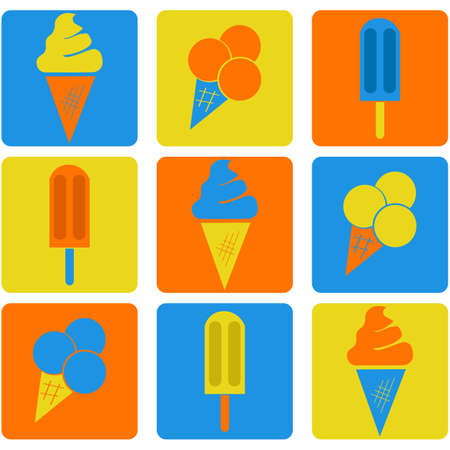 Flat icon set showing different types of ice cream using three color combinations