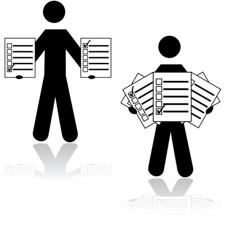 response: Icon showing a man holding survey cards with different options checked in