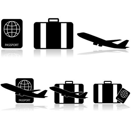 Icon set showing a passport, a suitcase and an airplane, by themselves and combined