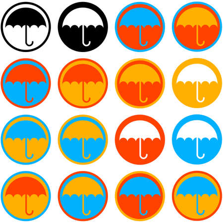 Flat icon set showing an umbrella over a circle in different colors