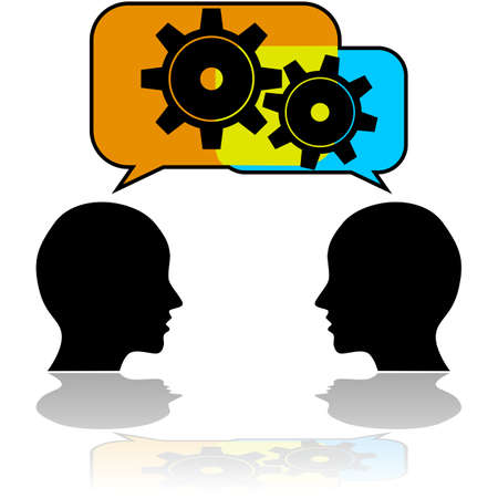 Concept illustration showing a couple of people talking with gears getting in motion Çizim