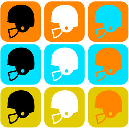 Flat design icon set showing a football helmet in different color combinations
