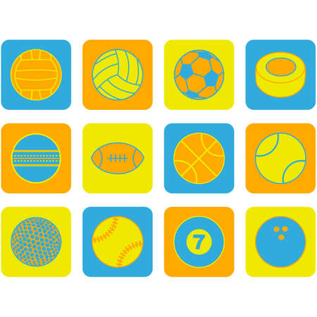 Flat design icon set showing balls of different sports