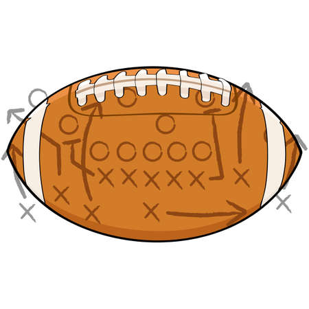 Concept illustration showing a football with tactic drawings on top of it