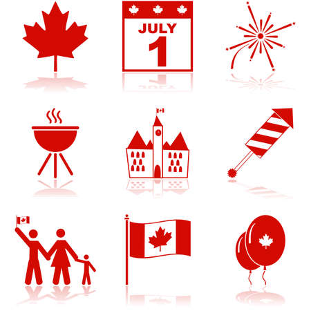 Icon set showing elements related to Canada and the Canada Day celebrations Çizim